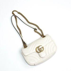 Authentic Gucci GG Marmont White Chain Purse